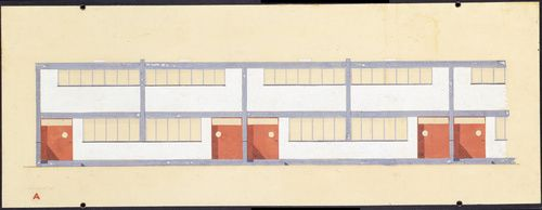 Walter Gropius (American, b. Germany, 1883-1969). Building type A, elevation, 1926-28. Törten housing estate, Dessau, 1926-28. Gouache and ink on paper. 8 7/16 x 24 in. (21.5 x 60.9 cm). Gift of Walter Gropius.