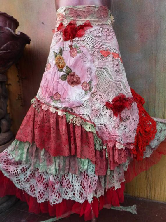 20%OFF wildskin, woodland, boho, wedding, bridal,tattered skirt, boho, fantasy, stevie nicks, bohemian skirt, gypsy skirt, lace, bellydance