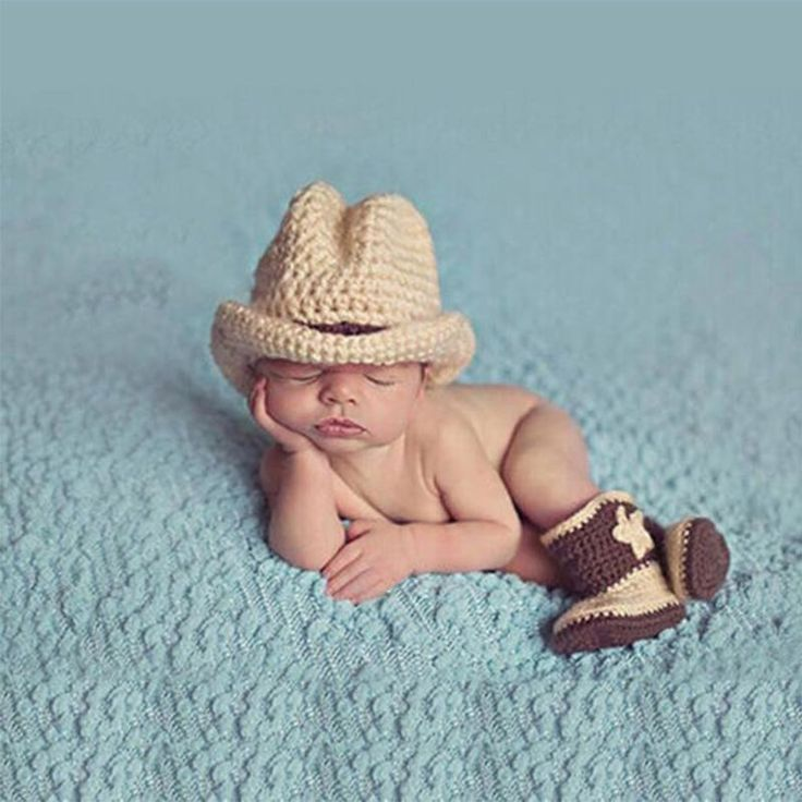 $15.99 CUTE!!!! NEW ITEM DreamShining Cowboy Baby Hats Infant Newborn Photography Props