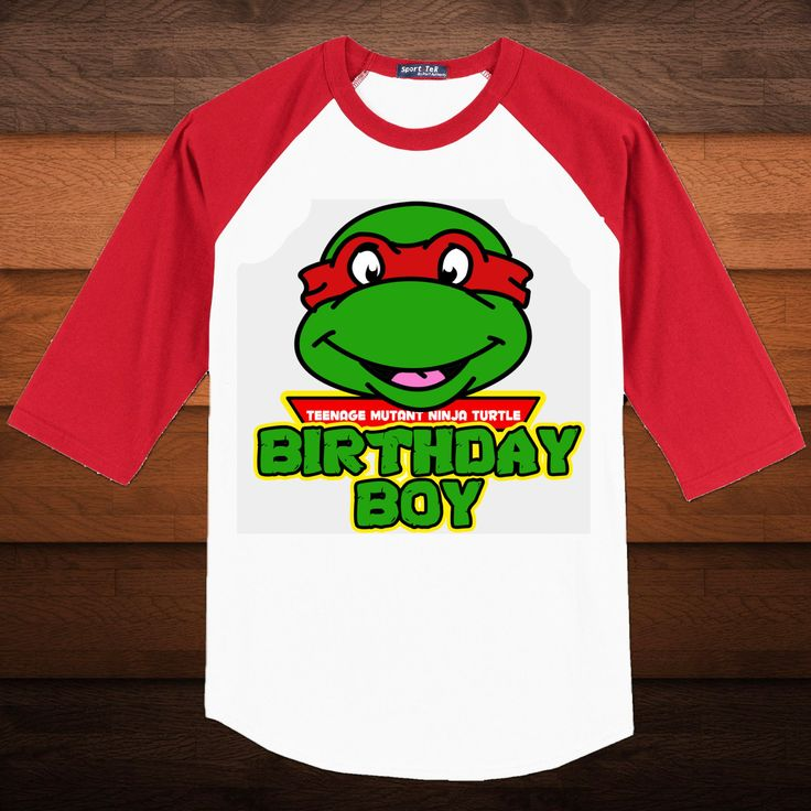 Birthday Boy TMNT - Baseball Shirt - Pick Mask Color and Sleeve Color. $18.00, via Etsy.