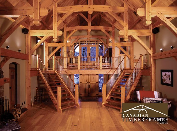 Grand timber frame stair case