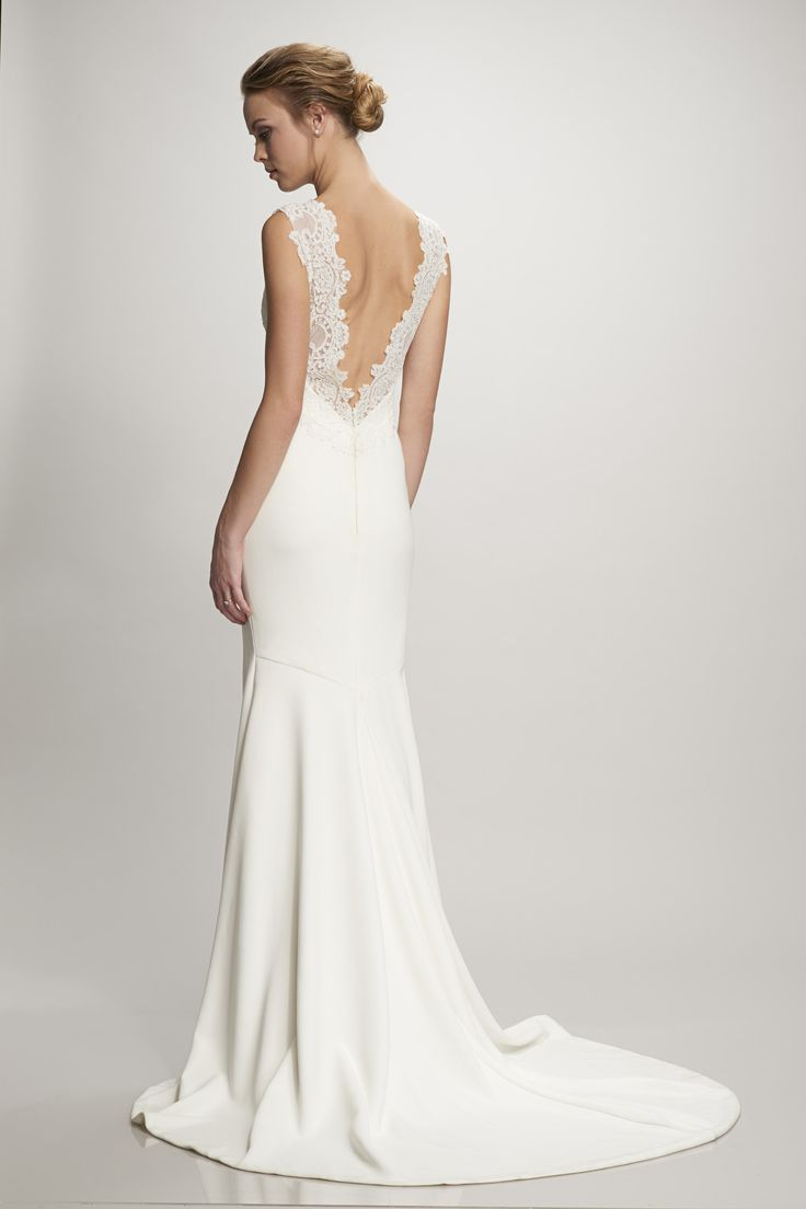 Simple Gorgeous Nadia stretch Crepe and lace wedding dress available at Carrie Karibo Bridal Cincinnati