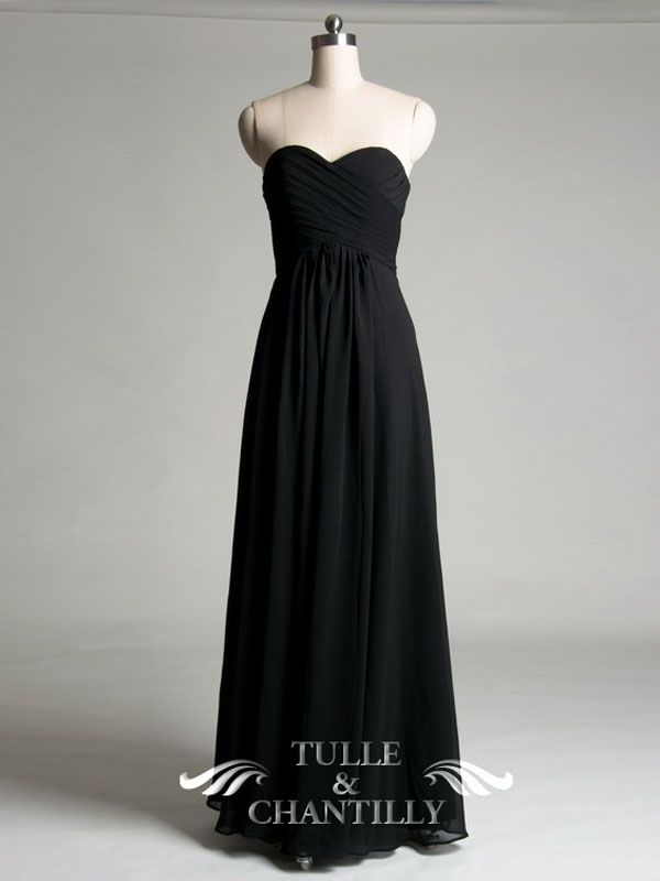 Sweetheart A-line Black Bridesmaid Dress