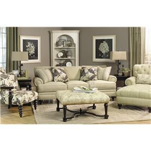 Paula Deen Home Traditional Stationary Sofa With Turned Wood Feet By Universal
