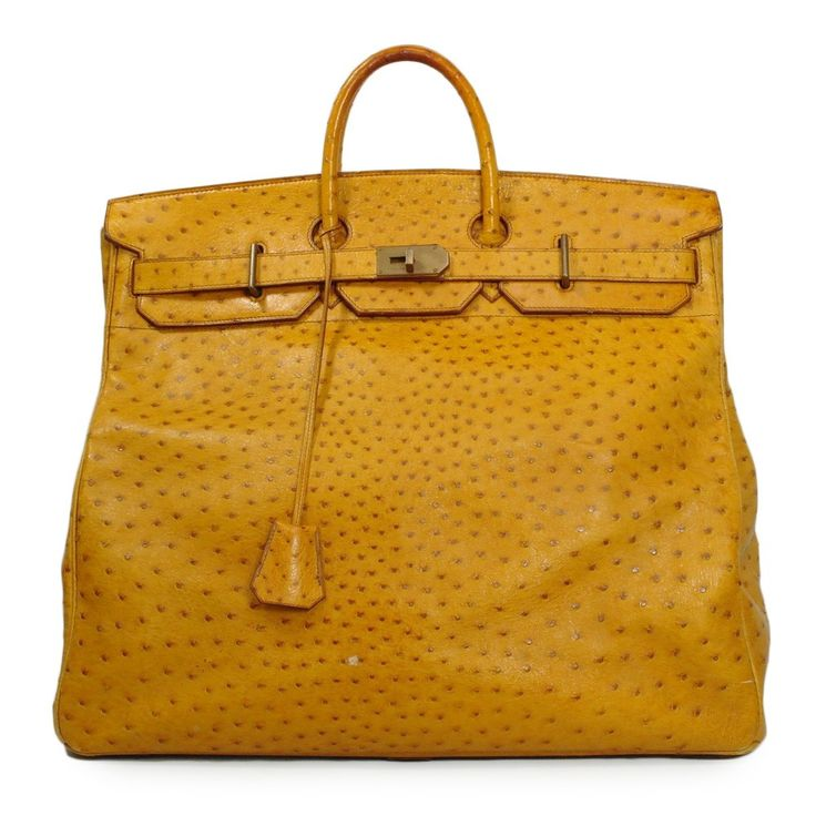 e33df939e2a 50cm Hermes HAC in ostrich! | Men\u0026#39;s Fashion |. Used Desinger Bags.  Herm¨¨s Vintage Gold Ardennes Leather 55cm Birkin ...