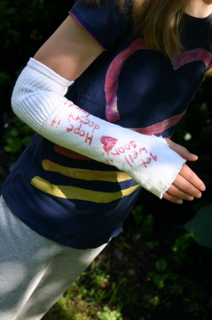 This fake cast made from a sock- Would be a good addition to our homemade doctor's kit.