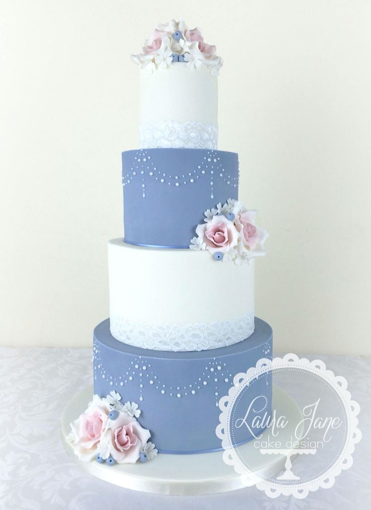 Cornflower blue and pink wedding cake