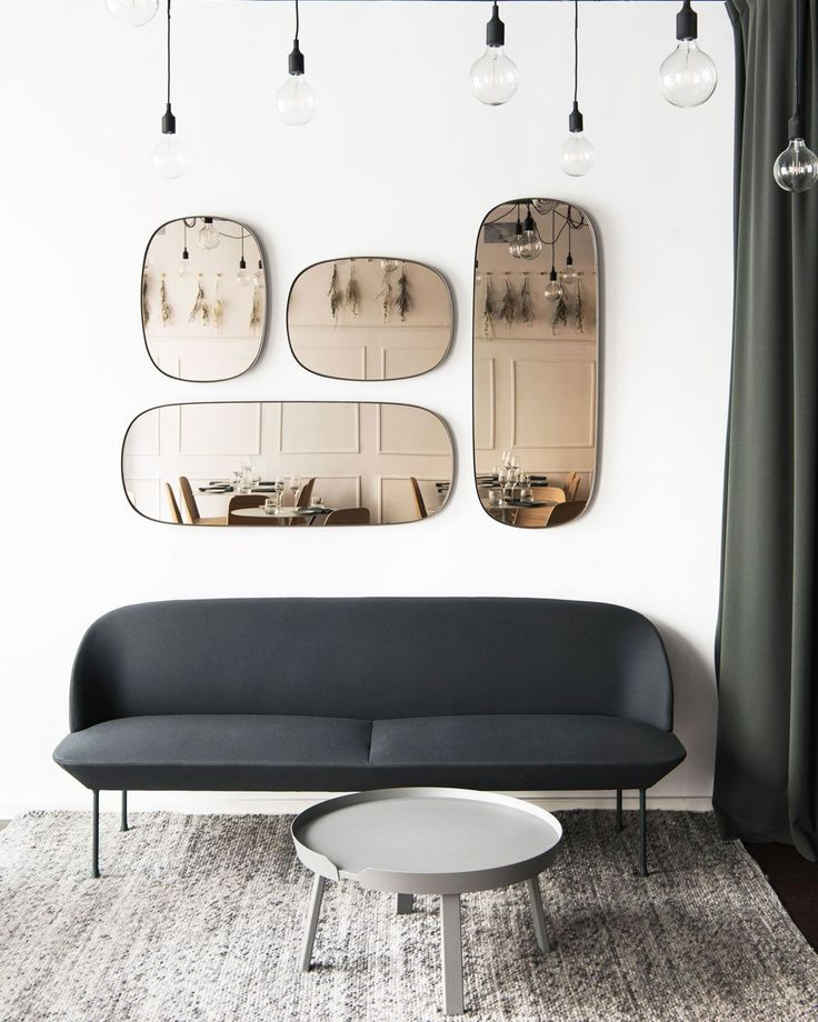 Hallway inspiration with the Oslo Sofa, Around Table, Framed Mirror, E27 Lamps and Ply Rug. Get inspiration for your interior dreams here.