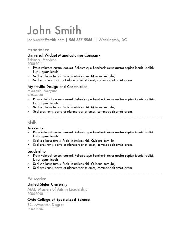 Word Sample Resume. Professional Job Resume Template