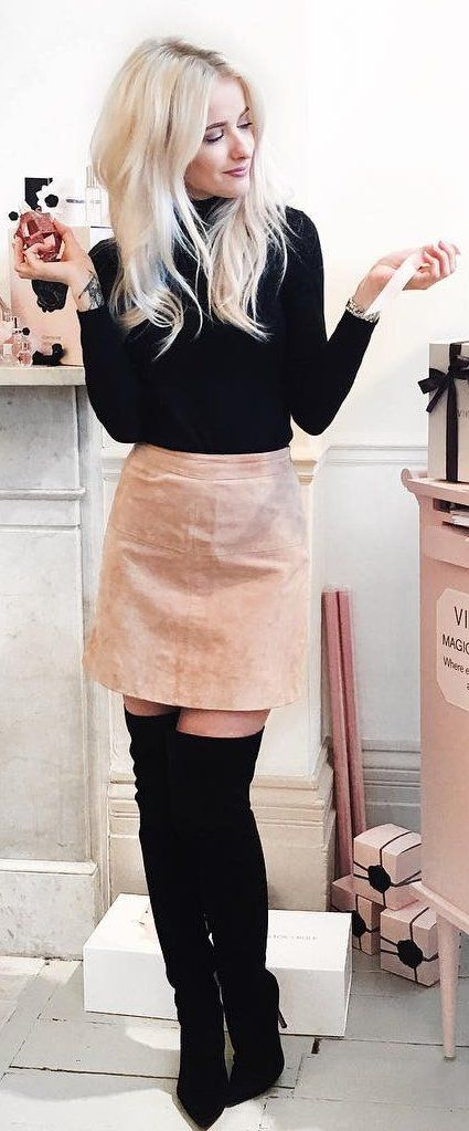 #winter #fashion /  Light Pink Skirt + Black Turtleneck + Black OTK Boots