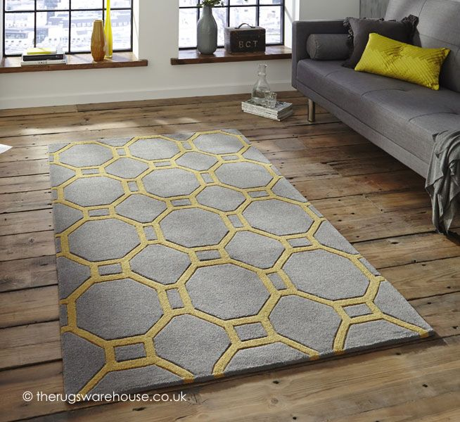 Hong Kong Rugs 4338 Grey Yellow Modern With Free Delivery To Mainland Uk Comes A Thick Soft Acrylic Pile In