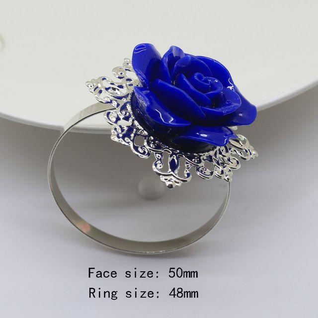 НОВЫЙ Синий Розы Кольцо Для Салфеток silver Декоративные Железные кольца для салфеток Держатель Свадебные Салфетки ткани Декоративные вычет Стол Банкета