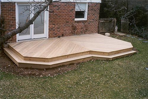 Floating deck decks pinterest two level deck decks for Low price decking
