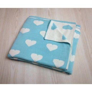 Aqua hearts Baby Blanket