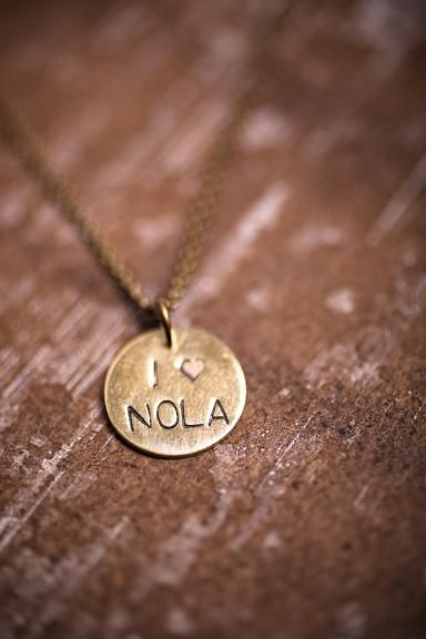 New Orleans City Love Necklace - Charms measure 3/4 inch and dangle from an 18 inch antique gold chain.