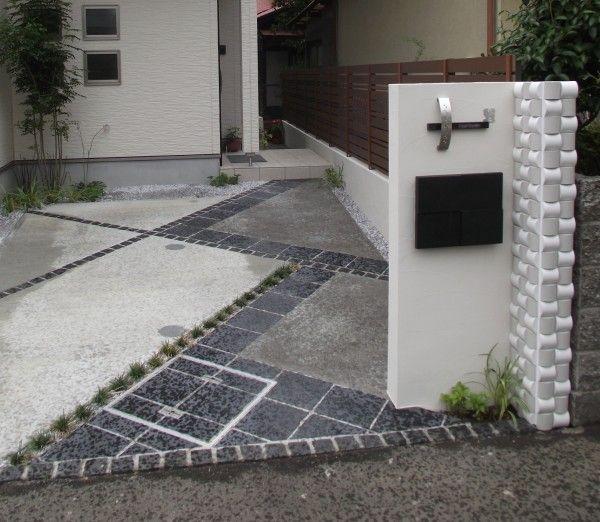 駐車スペースに伸びるモダンデザインアプローチ 神奈川県秦野市T様邸1