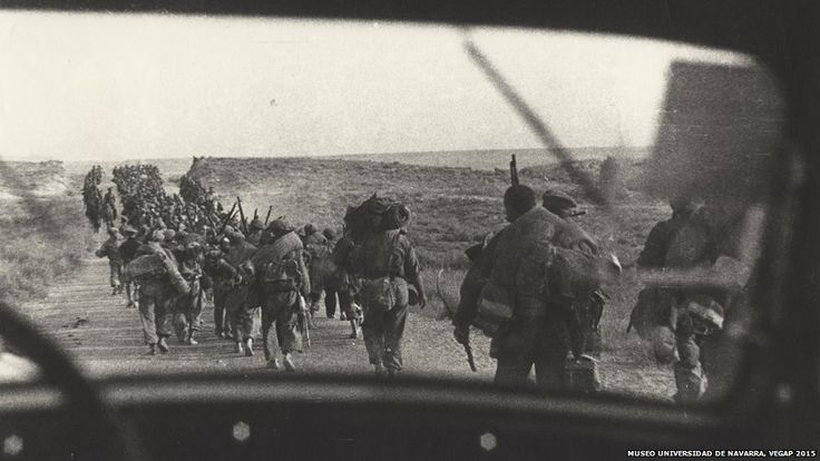 Republican troops marching on their way to the front, Aragon, 1936.