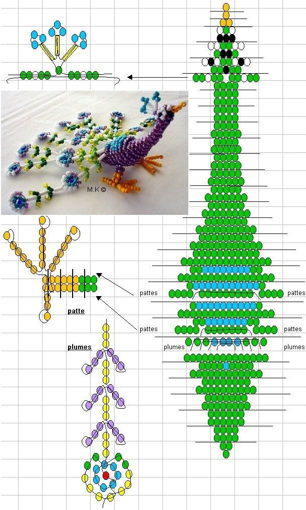 3D Beaded Peacock. Instructions found at this url: http://biserok.org/pavlin/