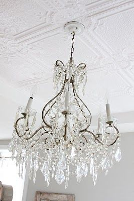 French antique chandelier + vintage pressed tin ceiling- could see this in my dining room