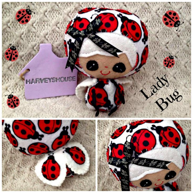 Handmade Felt LadyBird - Cute LadyBug Collectable Doll- Ready To Buy by HarveyshouseCrafts on Etsy