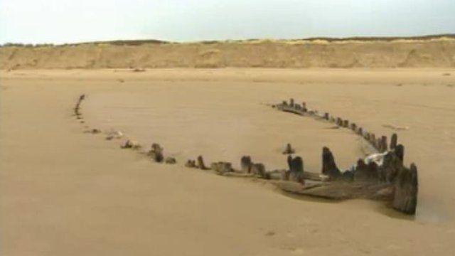 Shipwrecks found on Carmarthenshire's Cefn Sidan beach