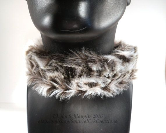 Snow Leopard Faux Fur Collar with a Leather base.  Larp, Cosplay, Furry Costume, Fursona, Furry, Leather Collar