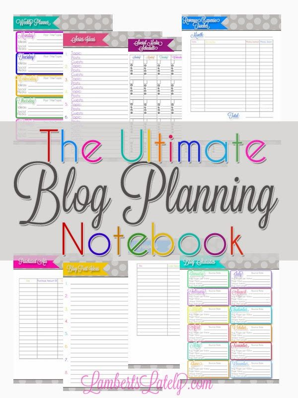 Everything printable you could need to keep your blog organized...all free printables! http://www.lambertslately.com/2014/02/the-ultimate-blog-planning-notebook.html