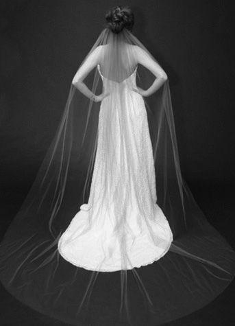 V805 Single Layer Chapel Length veil   Available at Sash & Bustle Toronto  info@sashandbustle.com