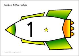 Numbers 0-20 on rockets (SB87) - SparkleBox
