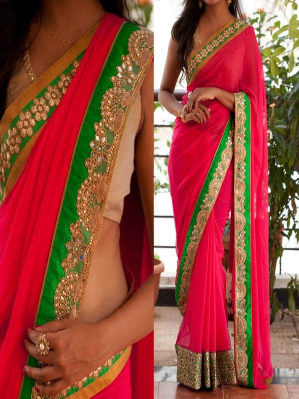 Celestial Pink Georgette Designer Saree with Golden Color banarasi Blouse. It Contained the work of Multi with Lace Border. The Blouse can be customized up to bust size 44