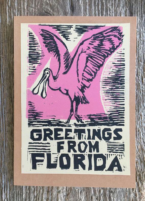 Mod Pink Spoonbill linocut artist print Note Card