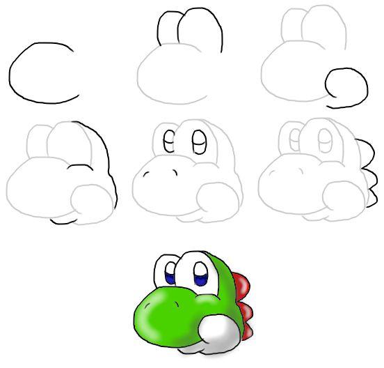 How to draw Yoshi's Head -New- by MeleeKirby on deviantART