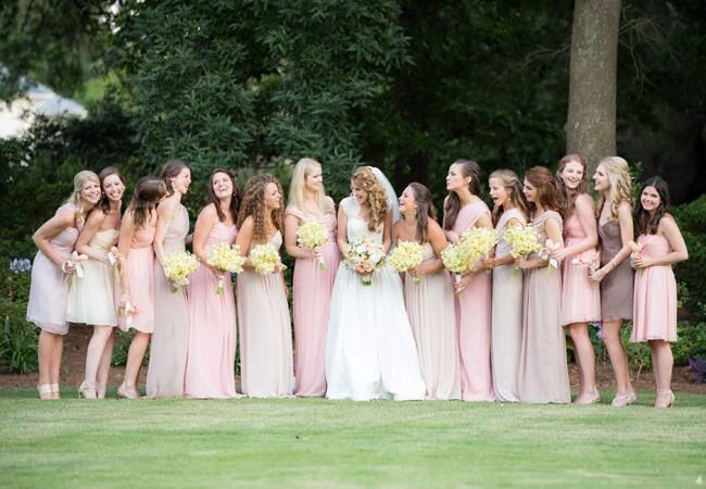 Love the bridesmaids in long and honorary bridesmaids in short! Great way to involve more people