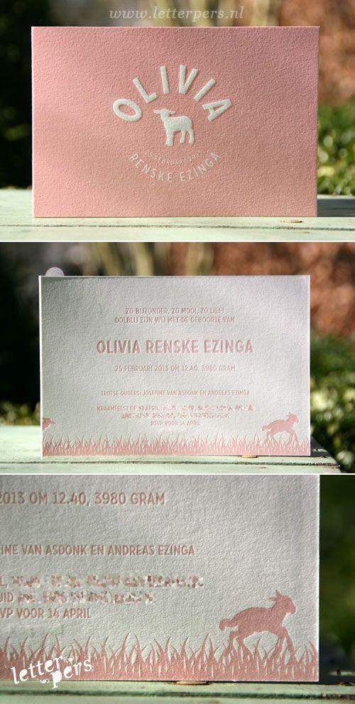 letterpers_letterpress_geboortekaartje_olivia_lammetje_schaapje_lente_relief_roze