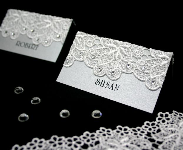 Wedding reception table place-cards, embellished with lace crochet LC602 & diamante adhesive stick on ADSO-D-4.  www.embellishmentgallery.com.au