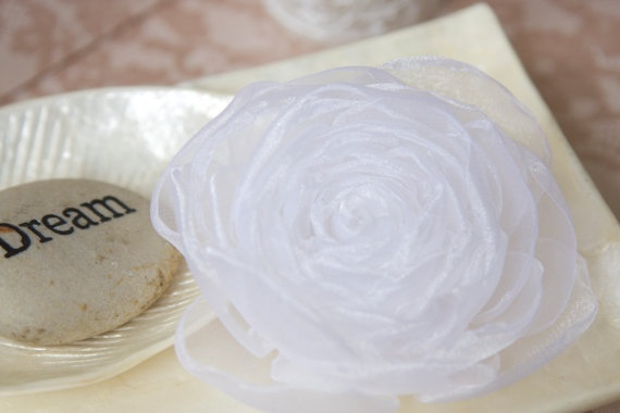 White silky satin flower hair clip or brooch by splendidblooms, $45.00