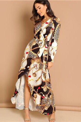 1b7c7926cecc Maxi print ruffles dress with long sleeves and deep V-neck for women this  autumn and spring. Slim,cozy,flare elegant,bare legged,fabulous with a  waist belt.