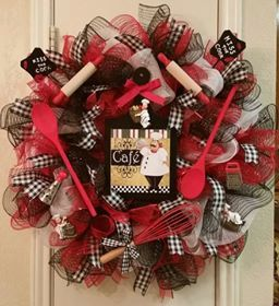 "Cafe ""Kiss the Cook"" Wreath, Kitchen Utensila, Italian Chef, Deco Mesh, Ribbon by SouthTXCreations on Etsy"