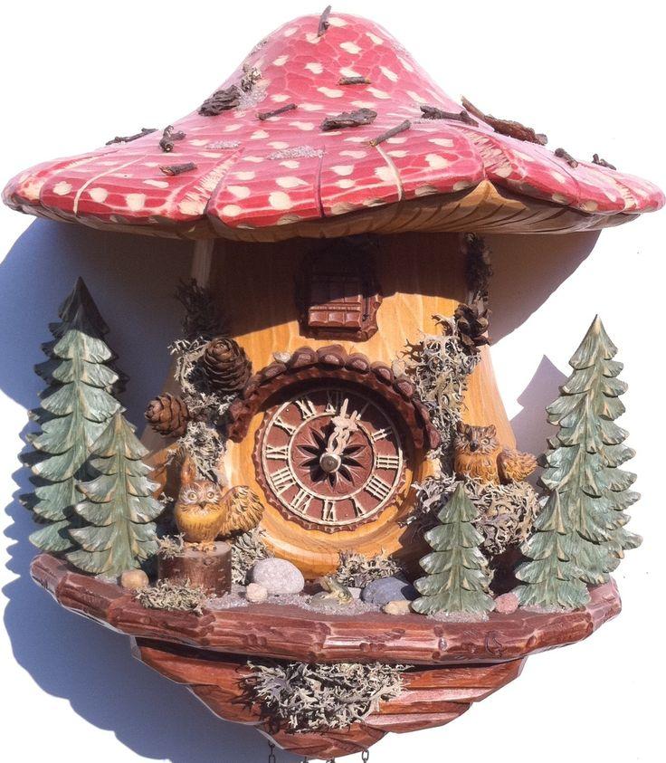 BLACK FOREST OWLS CUCKOO CLOCK HAND CARVED CUCKOO CLOCK ON OFFER | eBay
