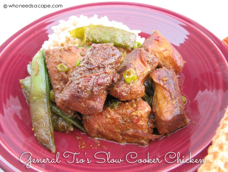 Who needs take out? Restaurant quality General Tso's Chicken from your slow cooker! Part of our 7 Meals in 1 Hour slow cooker/freezer meals post.
