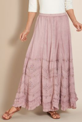 Petites Suzette Skirt - Cotton Skirt, Embroidery, Hand-sewn Beading, Fully Lined    Soft Surroundings  2014