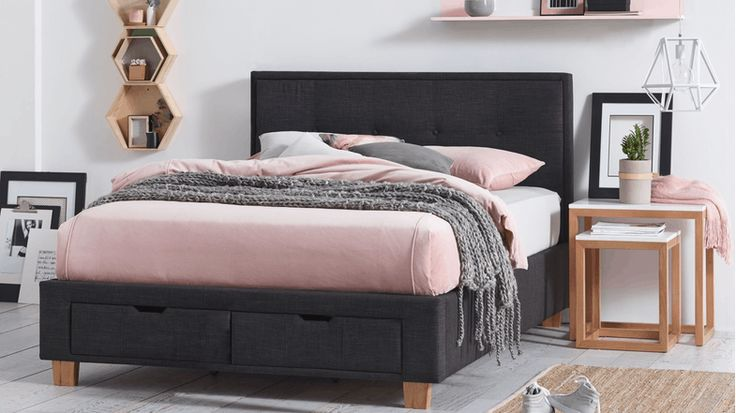 Halo Bed Frame with Storage - Charcoal | Domayne