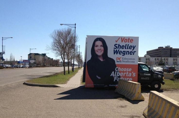 A throwback to the Alberta Provincial election, with Shelley Wegner's eye-catching Mobile Advan #outdooradvertising #outofhomemarketing #alternativeadvertising