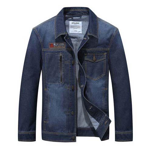 Denim Jacket Men Jeans Jacket Men Casual Fashion Cotton Solid Single Breasted Cowboy Slim Fit Blue
