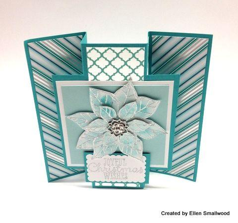 Fancy fold card - Joyous Christmas stamp set, Winter Frost dsp