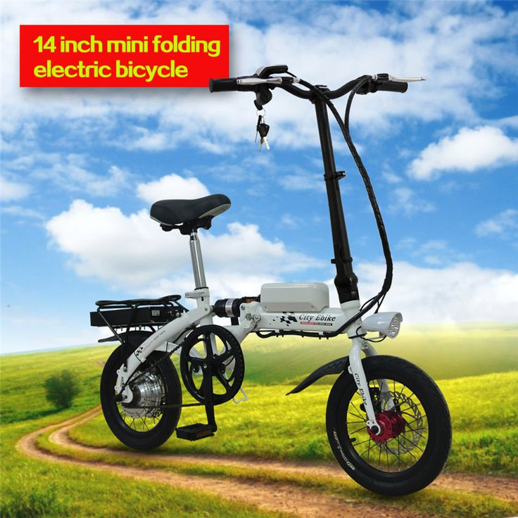 """electric bikes for sale 14 inch folding frame An affordable, extra-durable, 14"""" folding electric bike designed for travel applications Aluminum alloy wheels are rugged and protect the motor, front and rear LED lights and fenders add utility  Ergonomic grips and plush saddle add comfort but no suspension fork, the seat post has an integrated pump to fix flats on the go"""