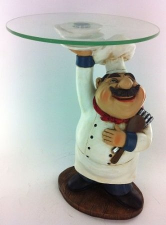 Fat Chef Kitchen Statue Food Plate Candy Figurine Table Top Art 64137: Home  U0026 Kitchen