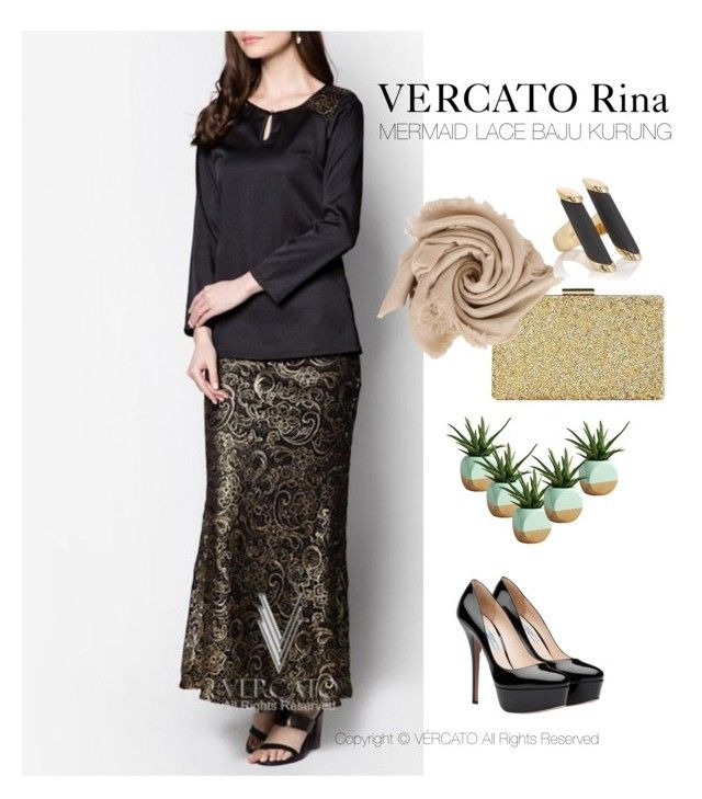 VERCATO Rina Baju Kurung Moden in black and gold, also available in silver. SHOP NOW: http://www.vercato.com/VERCATO-RINA-VMD040-MERMAID-LACE-BAJU-KURUNG-GOLD