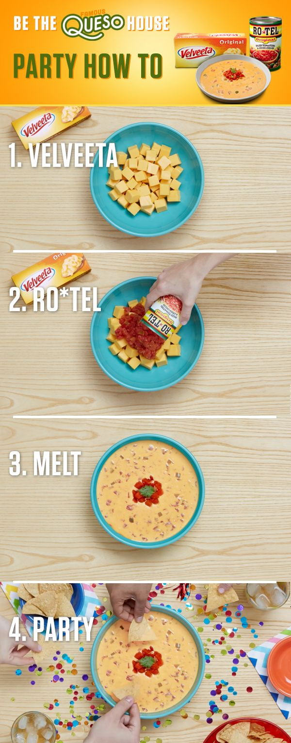 A legendary dip makes a legendary party. Combine the one-two kick of RO*TEL's diced tomatoes and spicy green chilies with creamy Liquid Gold VELVEETA for a dip your guests will be telling their friends about. Get the full recipe and more at www.quesoforall.com