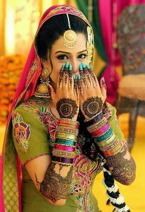 bridal mehndi colours wedding #WeddingPlanning, #MuslimWedding www.PerfectMuslimWedding.com